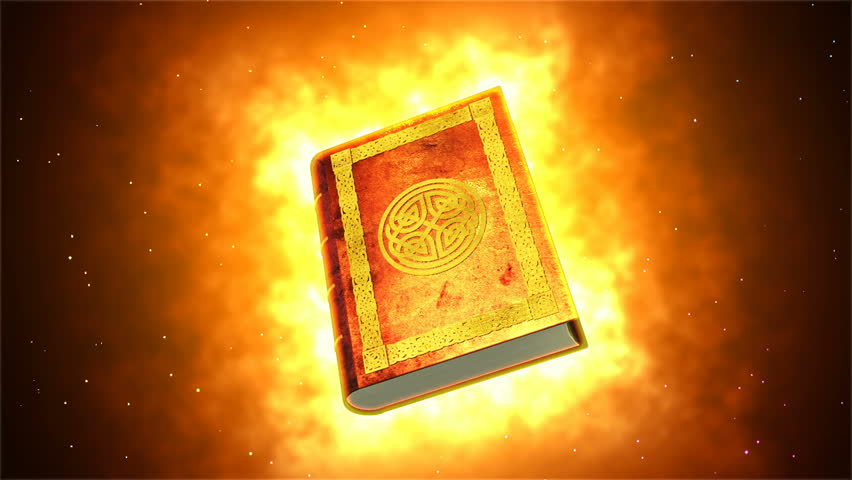 Vintage book burning and rotating