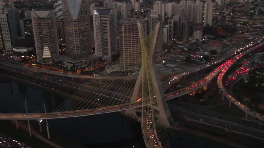 Sao Paulo Brazil city night skyline street aerial view dusk bridge Ponte Estaiada