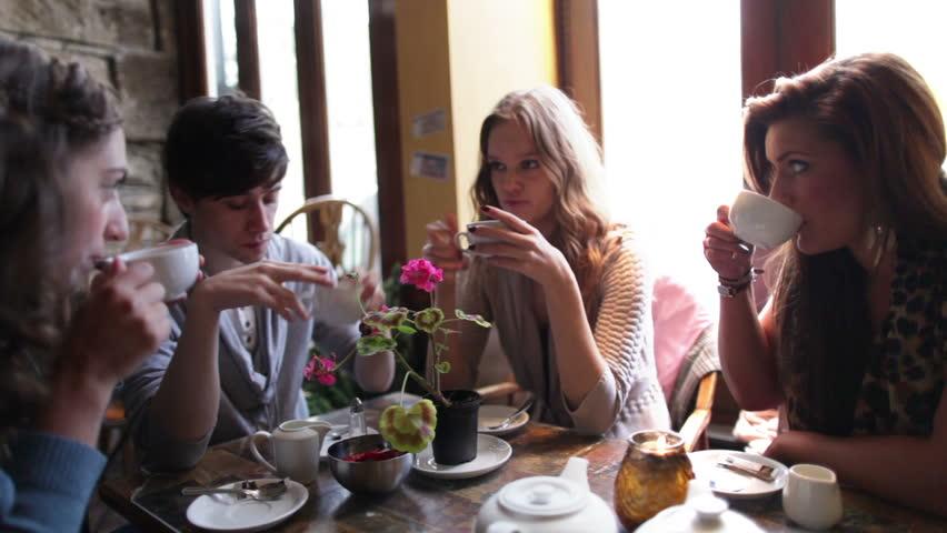 Friends in a cafe bar