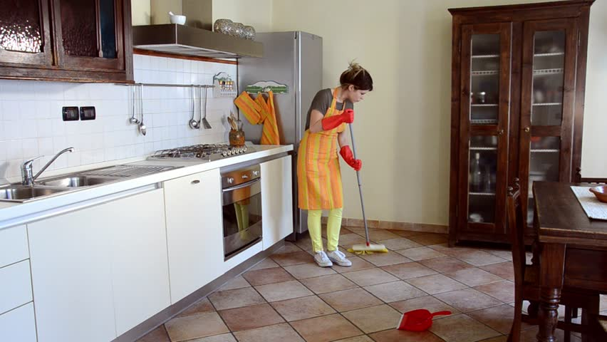 Young Woman Cleaning The Kitchen Floor Stock Footage Video 4522565 |  Shutterstock