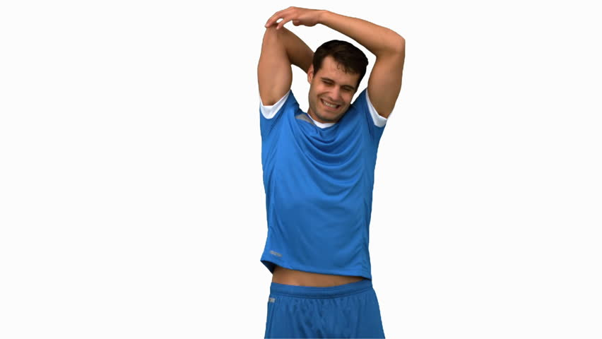 Football player stretching arms on white screen