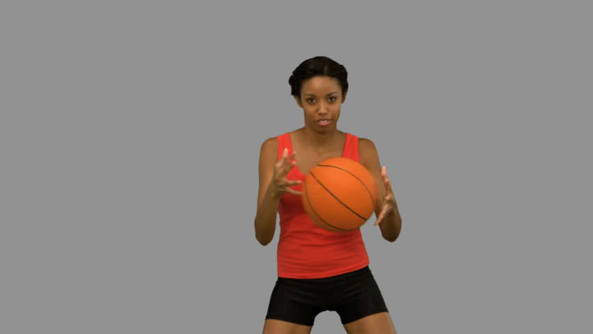 A Woman Playing Basketball Imágenes De Stock A Woman: Pretty Woman Playing Basketball On Stock Footage Video