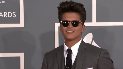 LOS ANGELES - February 12, 2012: Bruno Mars at the Grammy Awards 2012 in the Staples Center in Los Angeles February 12, 2012