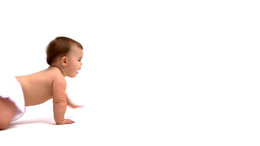 Baby crawling across white background