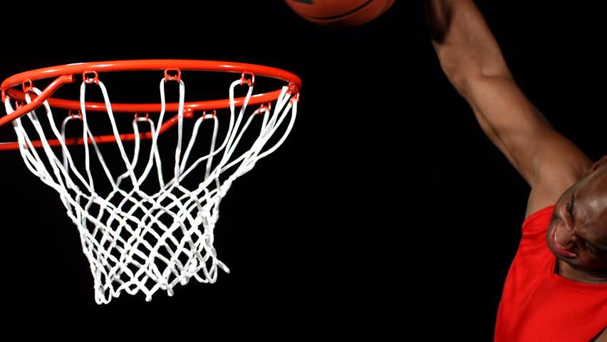 Basketball slam dunk, slow motion
