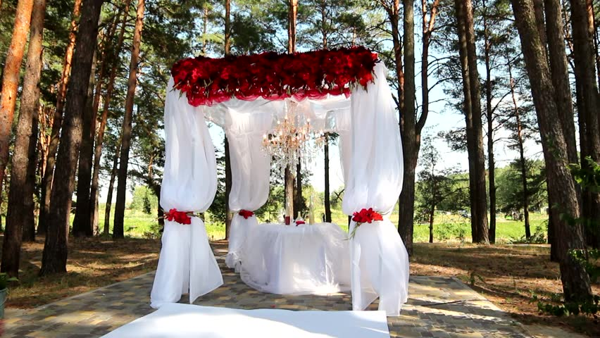 Outdoor wedding setting for celebration of becoming family outdoor wedding setting hd stock footage clip junglespirit Gallery