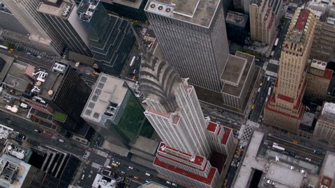 Aerial shot of Chrysler building and Manhattan skyscrapers