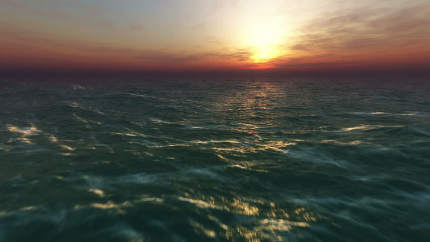 Ocean fly over at sunset, HD high speed animation just above the ocean waves facing the sun | Shutterstock HD Video #4582100