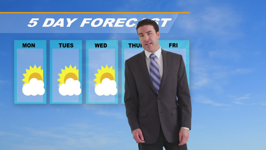 News weather man giving forecast