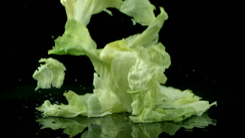 Lettuce falling and splashing, slow motion | Shutterstock HD Video #4589591