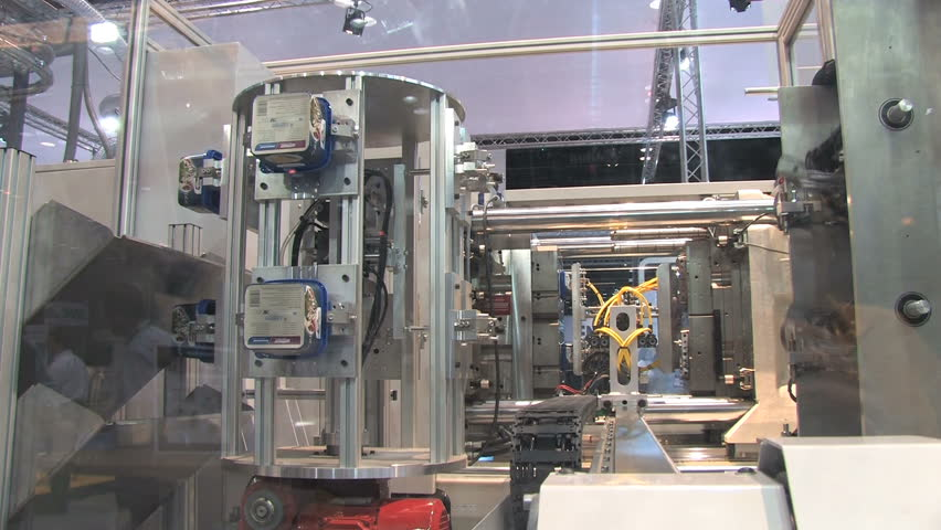 Automated machinery from a factory making containers