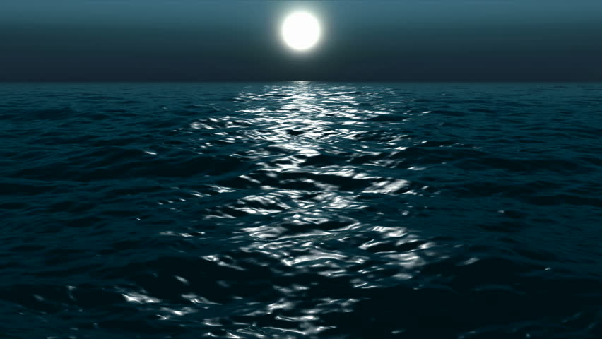 moon night on a sea, lopped