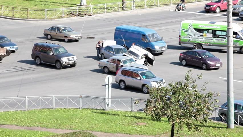 SAINT-PETERSBURG, RUSSIA-AUGUST 16, 2013: Road Accident In Street ...