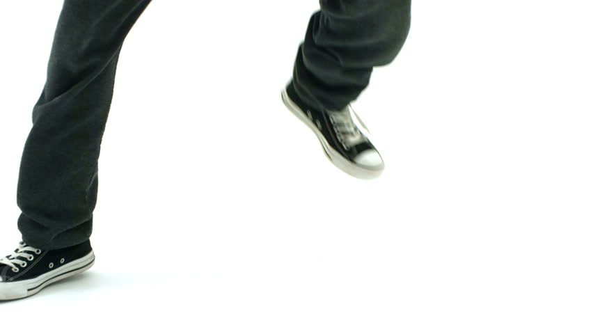 Dancers feet closeup, slow motion