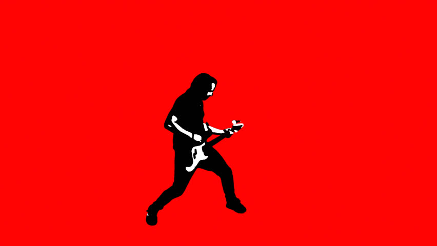 Rockstar flipping his guitar on red background, totally awesome!