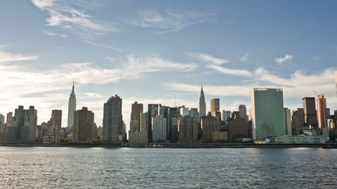 NEW YORK - SEPTEMBER 9, 2013: famous Skyline with Empire State Building, UN, and East River in NYC. Manhattan is the most densely populated borough in the city.