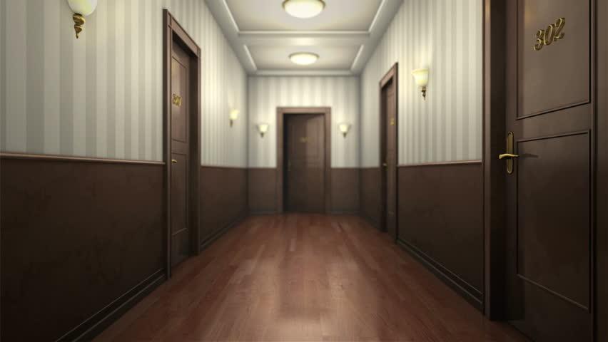 Moving Through A Hotel Corridor And Entering An Elevator