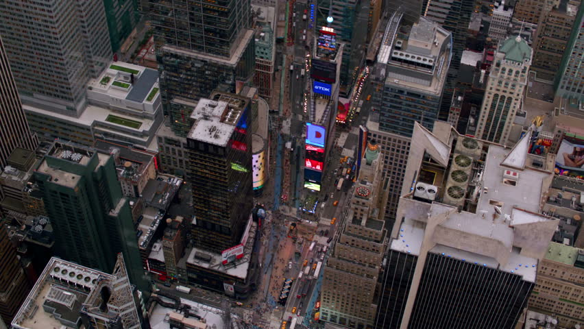 Aerial view of Times Square in New York City