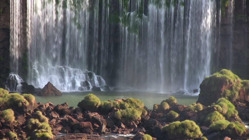 Iguazu, tropical green waterfall with natural basin; Argentina / Brazil (HDV 1080i native, Can. HV30).