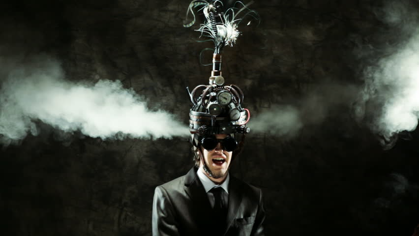Business man wearing a brain-control helmet, forced ideas extraction