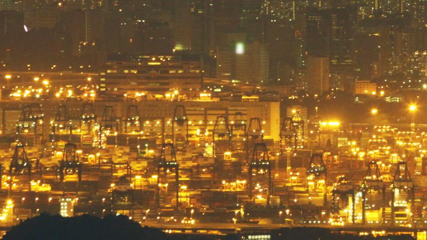 Hong Kong Kwai Tsing Container Terminal at Night - 02