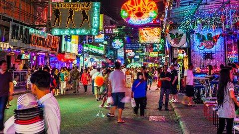 PATTAYA - 7 SEPTEMBER: Timelapse view of tourist walking in the Walkking Street of Pattaya, Thailand, on September 7, 2013