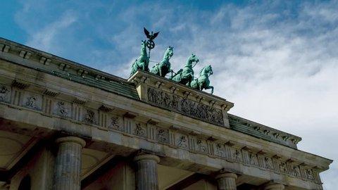 Quadriga of Brandenburg Gate (Brandenburger Tor) on Pariser Platz in Berlin, Germany (Time Lapse In Motion)