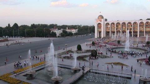 BISHKEK, KYRGYZSTAN - 27 JULY 2013: People visit the popular 'Ala Too' square in Bishkek, Kyrgyzstan