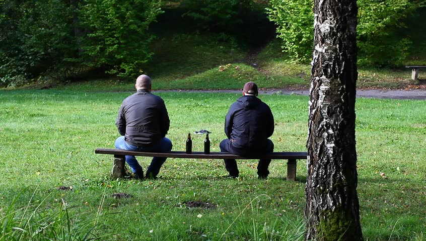 Beautiful Video Bench Part - 1: Two Men With A Bottle In The Park On A Bench - HD Stock Video Clip