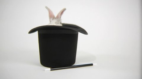 Rabbit hops out of magicians hat