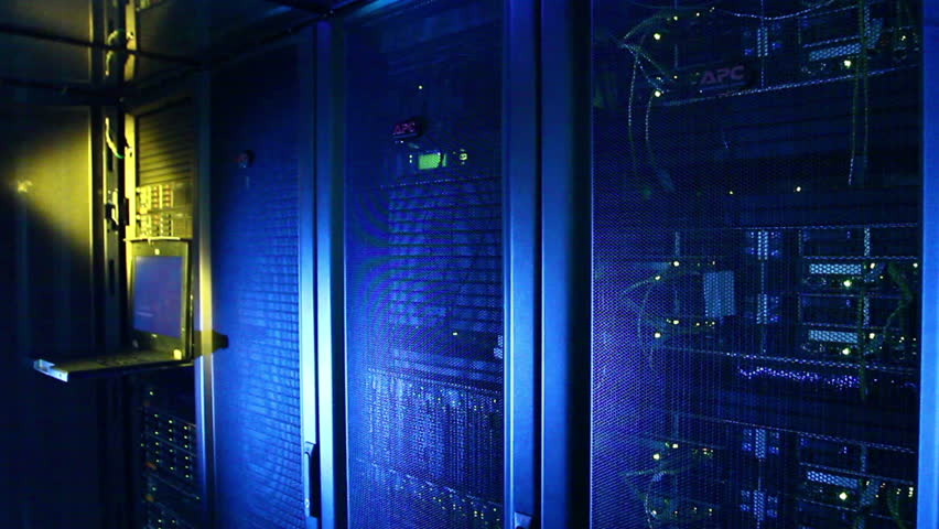 Working data servers with flashing LED lights