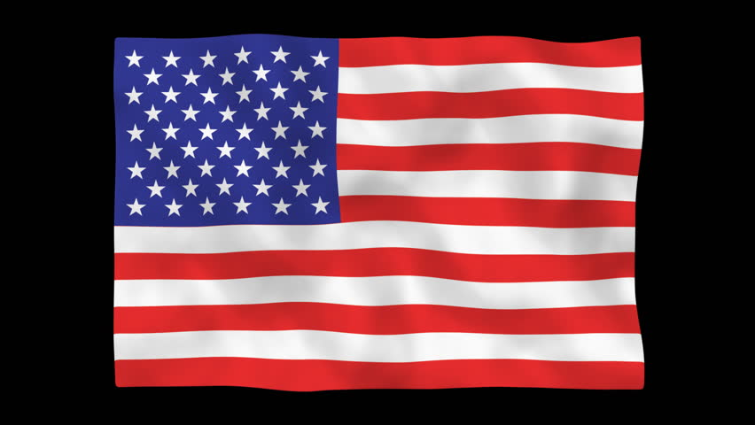 American Flag Waving In The Wind Isolated On Black ...
