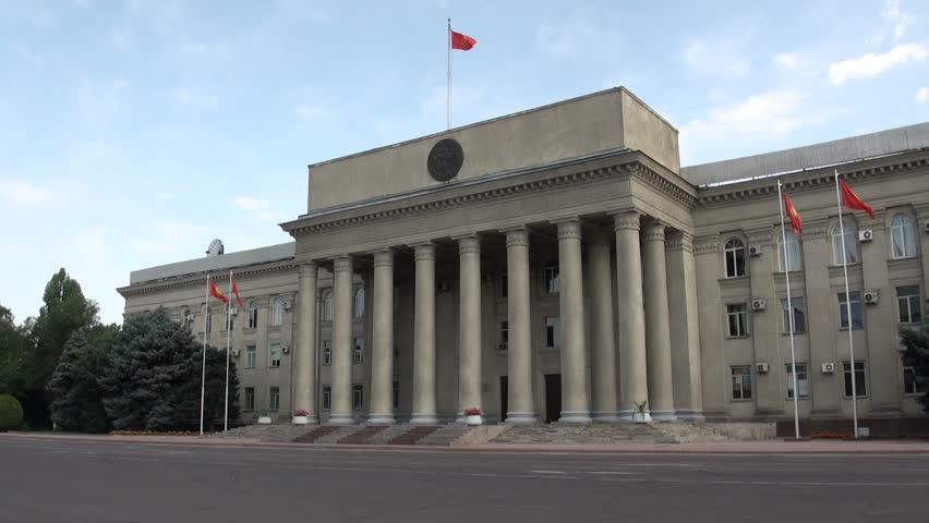 Parliament building in Bishkek, capital of Kyrgyzstan, in the former Soviet Union