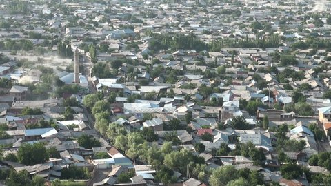 OSH, KYRGYZSTAN - 29 JUNE 2013: Overview of the city of Osh in Southern Kyrgyzstan