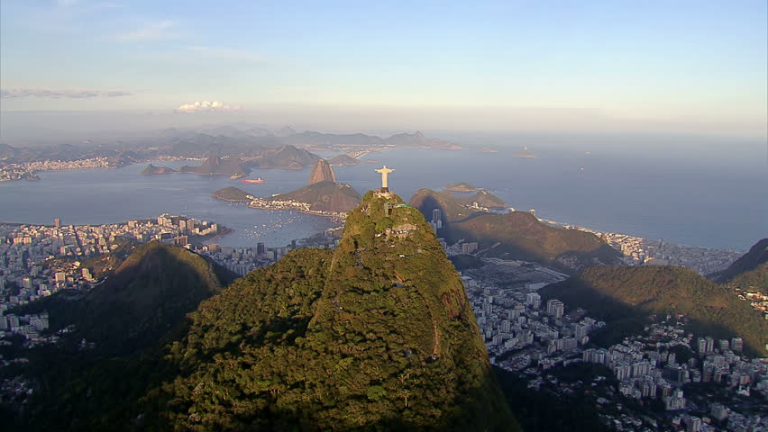 Wide angle aerial view of Christ the Redemeer Statue, Rio de Janeiro, Brazil