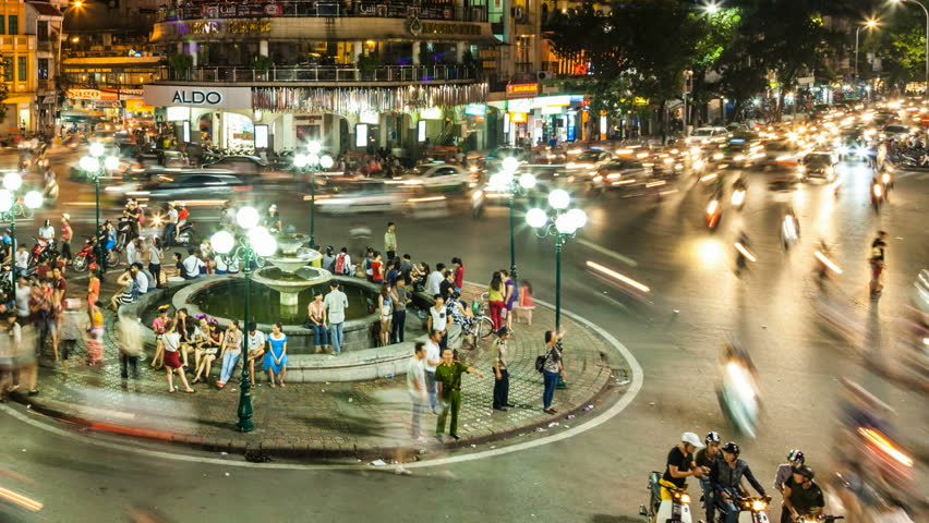 HANOI - SEPTEMBER 18: Timelapse view of crazy traffic in Hanoi Hoan Kiem