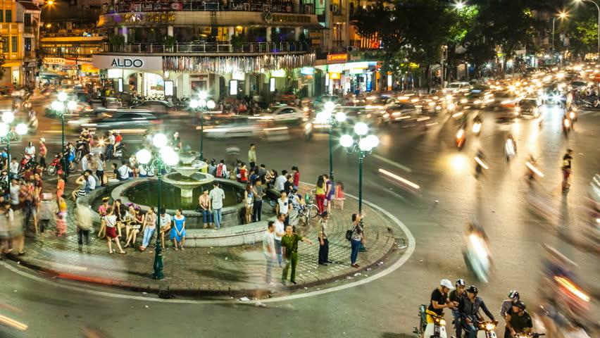 HANOI - SEPTEMBER 18: Timelapse view of crazy traffic in Hanoi Hoan Kiem