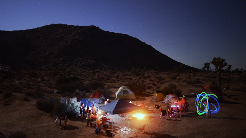 Time Lapse of Camping at Night in Joshua Tree National Park -
