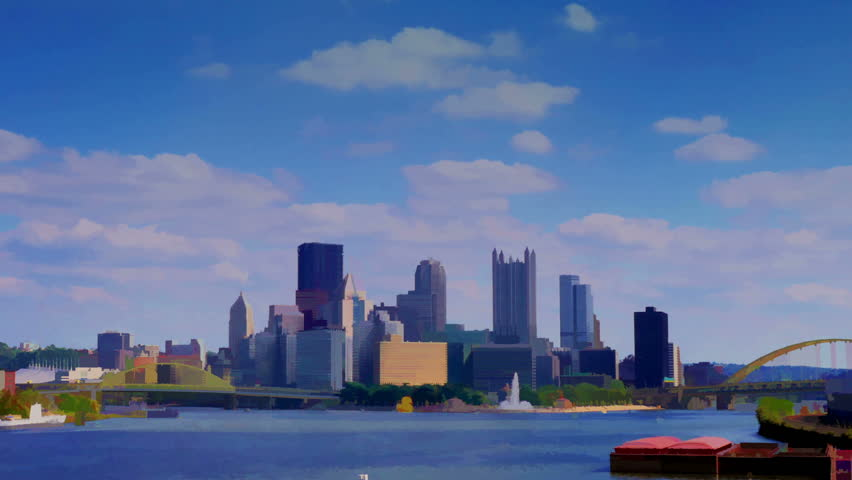 A stylized watercolor time lapse shot of the Pittsburgh city skyline as seen