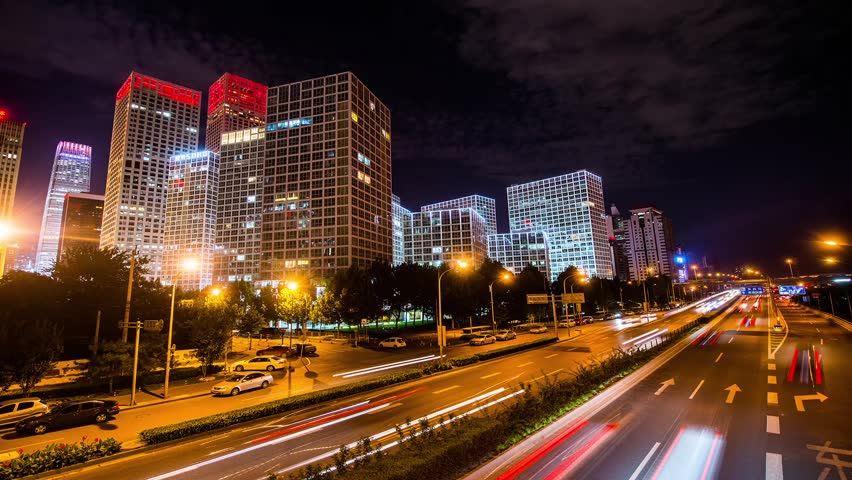Jianwai SOHO buildings at night,Beijing,China | Shutterstock HD Video #4797485