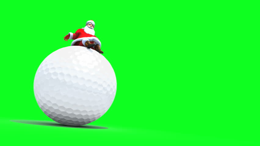 Santa sits on a Golf Ball. Ambient movement, loop, against Green.