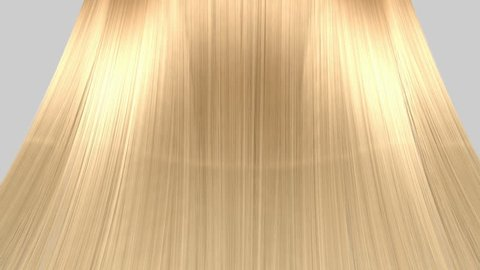 An abstract view of a bunch of blonde hair blowing in a breeze on an isolated white background