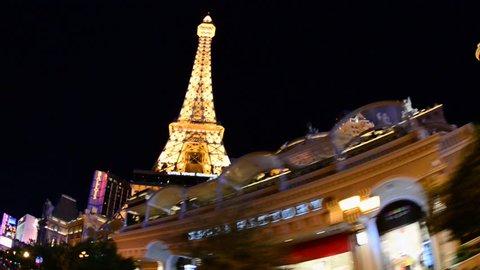 POV Driving past Las Vegas Casino at Night