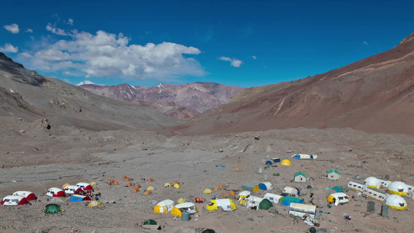 Aconcagua Time Lapse Wide shot of Plaza Argentina