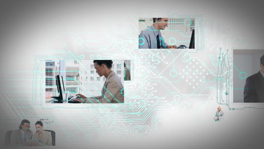Animation of moving screens with different business situations with circuit board background | Shutterstock HD Video #4884275