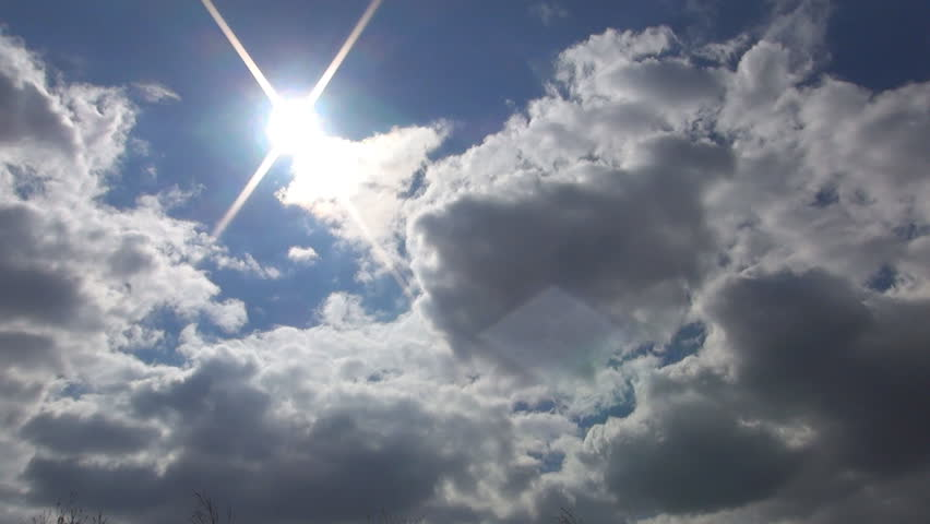 Sun Beam, Rays through Puffy Clouds in the Sky, Backgrounds, Sunlight Heaven