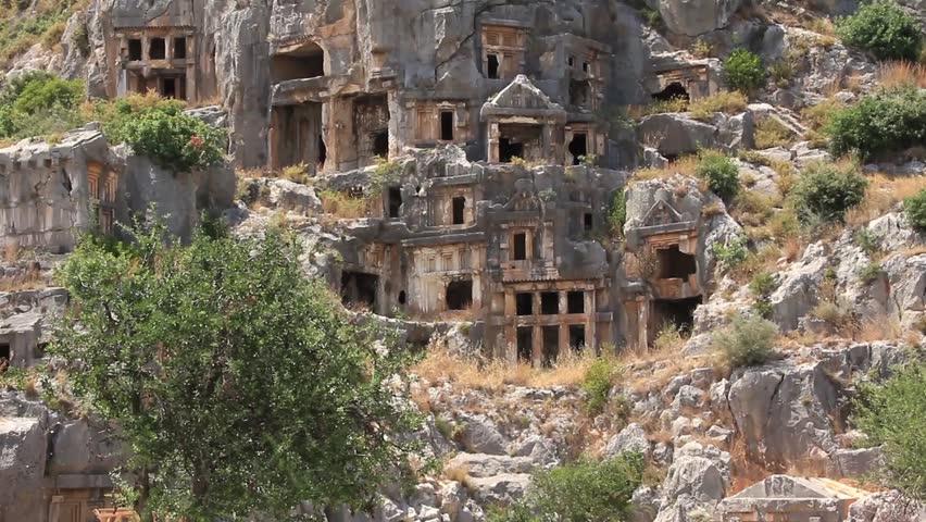 Petroglyphic tombs of the ancient state lycia turkey stock footage video 2436056 shutterstock - Halloween turdeko ...
