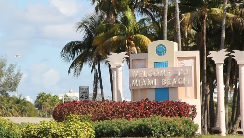 Welcome To Miami Beach Sign Stock Footage Video 100 Royalty Free 4895075 Shutterstock