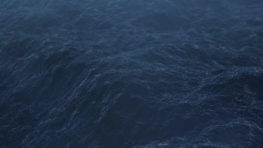 Flight over the stormy ocean