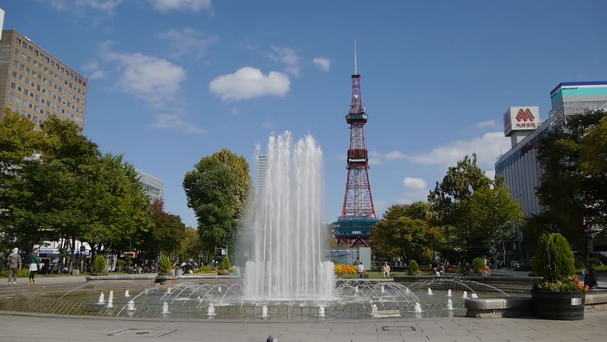 SAPPORO, JAPAN - OCTOBER 18 : Sapporo Television Tower and West 3 Fountain at